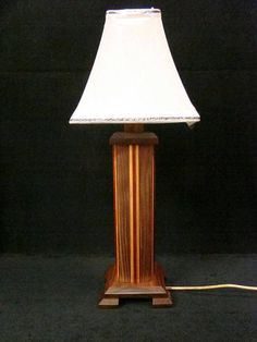 Black Walnut Lamp with Cherry and Padauk Accents Desk Lamp