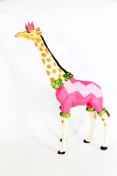 """Party Animal """"Amy"""" The Giraffe - painted carnival, circus, and birthday decor"""