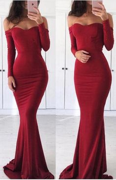 Prom Dress,Off Shoulder Prom Dress,Mermaid Long Sleeves Prom/Evening #prom #promdress #dress #eveningdress #evening #fashion #love #shopping #art #dress #women #mermaid #SEXY #SexyGirl #PromDresses