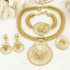 1ae352ed8a6 Italy Fashion Costume Big Necklace Bracelet Rings Earrings Dubai Gold  Plating Jewelry Set   Price