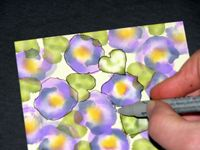 cardmaking tutorial: Adirondack Alcohol Ink Pansy Card  ... this is Step 5 of the series  of photos and written instructions ... beautiful card is at the end ... like the lines being drawn in with marker to outline and give mor form to the shapes ... stunning card!! ... Ranger arts ...
