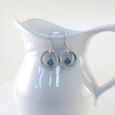 Brushed Silver Earrings Turquoise Blue by CinLynnBoutique on Etsy, $18.00
