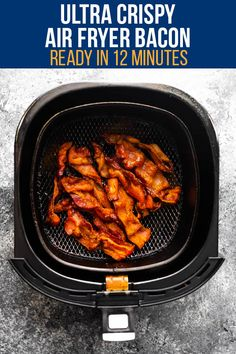 Air fryer bacon is ULTRA crispy and so easy to cook. No more bacon splatter all over your stove top makes it even easier to clean up after! #sweetpeasandsaffron #bacon #lowcarb #mealprep #airfryer #crispybacon #howto Best Lunch Recipes, Best Breakfast Recipes, Favorite Recipes, Lunch Meal Prep, Meal Prep Bowls, Cooking Turkey Bacon, Margarita Bebidas, Crispy Chicken Wings, Slow Cooker Freezer Meals