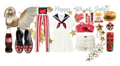 """Bye Bye, Miss 4th of July!"" by porcelainette ❤ liked on Polyvore featuring FRUIT, Dr. Martens and NARS Cosmetics"