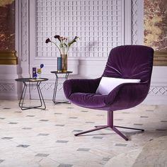 What seems like a part of the royal family is a Leya Lounge Chair by the @freifrau_moebel  Sitzmobelmanufaktur in its purple velvet perfection.  With its congenial mix of material and colour Leya has all the makings of a unique designer piece. To sit down in the chair is to indulge the senses further still.  #archiproducts #freifrau