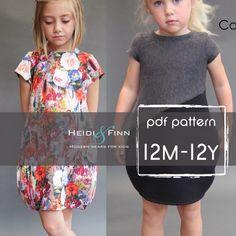 NEW  Cocoon dress PDF pattern and tutorial 12m-12y  tunic dress jumper  easy sew von heidiandfinn auf Etsy https://www.etsy.com/de/listing/247425707/new-cocoon-dress-pdf-pattern-and