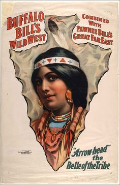 """Colored print; poster of a bust portrait of a female Indian depicted on an image of a large arrowhead. She is identified as """"Arrowhead"""", Belle of the Tribe."""
