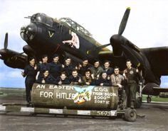 "F/L J. F. Thomas and the crew of Avro Lancaster Bomber 'B' MkI 'Victorious Virgin' RF128 QB-V of RCAF 424 Squadron ""Tiger"" Squadron on the 21st of March 1945. (probably taken at the Skipton-on-Swale, North Yorkshire airfield)"