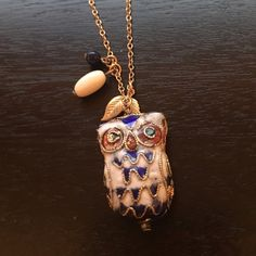 "Anthropologie owl charm necklace Beautiful enamel 3D owl (approx .5"" thick) with bead and leaf detail.                                            Pretty ornate and detailed necklace in perfect shape.                                                                        Hits in the center of the décolletage. 8"".                  Adjustable gold chain with lobster clasp.                    Offers welcome. 20% off bundles! Anthropologie Jewelry Necklaces"