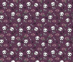 Colorful fabrics digitally printed by Spoonflower - Little roses and bones skulls for girls halloween day of the dead skeleton garden purple aubergine Fabric Wallpaper, Wallpaper Backgrounds, Wallpapers, Badass Wallpaper Iphone, Pattern Designs, Patterns, Halloween Vampire, Day Of The Dead, Vampires