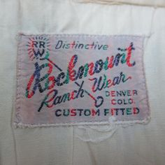 Rockmount Ranchwear label - 1950s