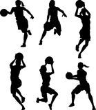Basketball Female Silhouettes Royalty Free Stock Image