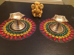 Diya Base / T light Candle holder Base / Kundan Rangoli/ - Set of 2 Diya Rangoli, Diwali Diya, Diwali Craft, Flower Rangoli, Cd Crafts, Hobbies And Crafts, Diy Craft Projects, Arts And Crafts, Home Wedding Decorations