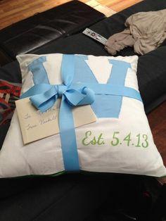 Monogram appliqué pillow w embroid date.   Great wedding gift