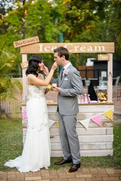 Ice Cream Bar | See the wedding on SMP - http://www.StyleMePretty.com/australia-weddings/queensland-au/brisbane/2014/01/08/bundaleer-rainforest-gardens-wedding/ Andrea Sproxton Photography