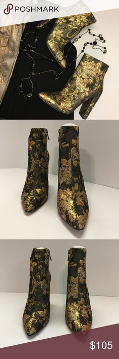 """Jessica Simpson Teddi Metallic Gold Brocade Bootie I am in love with these booties for this fall season!  They hit two of the big fashion trends (metallic and moody romance) and will be a great statement bootie to boost up any outfit!  They have a pointed-toe and a zipper on the inside for easy on/off.  They are made of thick brocade fabric, have a manmade sole and a 4"""" wrapped block heel.  They are new with tags and come from a smoke-free home.  Just gorgeous!! Jessica Simpson Shoes Ankle…"""