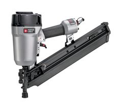 PORTER-CABLE FC350A Clipped Head 2-Inch to 3-1/2-Inch Framing Nailer. Uses 30 degree to 34 degree 2-inch to 3-1/2-inch by .113-inch to .131-inch paper collated clipped-head framing nails. Power to drive nails (up to 3-1/2-inch by .131-inch) into engineered lumber. Compact body design for better balance and style. Consistent power on every shot with internal piston catch mechanism. Selectable trigger - restrictive or contact actuation mode; Tool-free depth-of-drive adjustment with detents…
