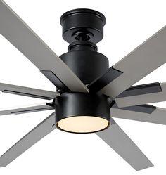 Raven LED Ceiling Fan Matte Black & Black Blade