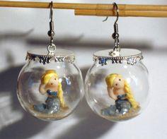 Ohrringe Meerjungfrau Damen Hänger Ohrschmuck Modeschmuck ohne Stein Glas