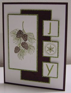 handmade Christmas card from Stamping with Loll: Pinecones and Branches ... uses Split Coast Stampers layout  #359  ... like the tiny bit of sparkle on the thing mats ... Stampin' Up!