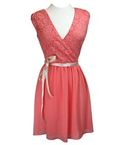 Lace Coral Dress with V Neck & Ivory Ribbon Tie