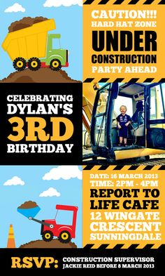 Construction themed Invitation - Personalised invitation for $12. Email jackie@babazoo.co.za with birthday details.