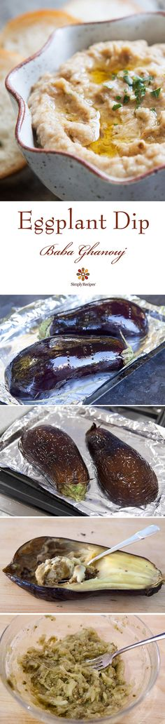 Eggplant Dip (Baba Ghanouj) ~ Classic Mediterranean baba ghanouj eggplant dip, so easy! Baked eggplant pureed with tahini, garlic, and olive oil. Dip Recipes, Appetizer Recipes, Appetizers, Cooking Recipes, Baked Eggplant, Eggplant Recipes, Vegan Eggplant, Fingers Food, Dips