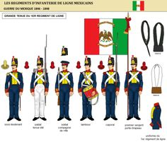 uniformes - The halls of Montezuma Mexican Army, Mexican American War, Montezuma, Military Art, Military History, Army Uniform, Military Uniforms, Texas Revolution, Military Costumes