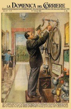 Walter Molino (1915-1997). < Bartali appende la bicicletta al chiodo > Copertina dedicata al ritiro dalle competizioni di Gino Bartali (1914-2000) [La Domenica Del Corriere, 20 febbraio 1955]