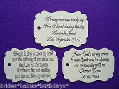10-Kraft-Cream-Gift-Tags-Christening-Baptism-Party-Bomboniere-Personalised-H6