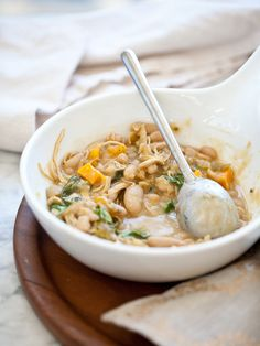 White Bean and Pumpkin Pork Chili Recipe has all the flavors of fall | foodiecrush.com