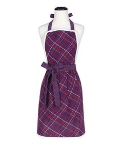 There's no reason fashion and food can't come together in the kitchen. This pretty purple apron features a classic tartan print, contrasting white edging and a tie at the waist that guarantees a perfect fit. 24'' W x 30'' H100% cottonMachine wash; tumble dryImported