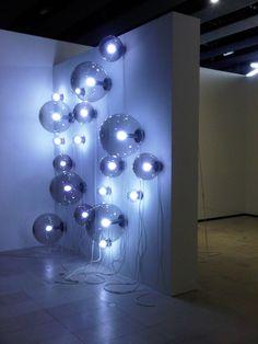 Smoke Spheres by Angela Bulloch Deco Design, Lamp Design, Neon Lighting, Lighting Design, Instalation Art, Light Art Installation, All Of The Lights, Stage Design, Light And Shadow