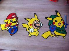 Pixel Art / Perler Beads Pikachu and Mario costume Pearler Bead Patterns, Perler Patterns, Pixel Art Pokemon Pikachu, Image Pixel Art, Pokemon Perler Beads, Art Perle, Motifs Perler, Peler Beads, Melting Beads