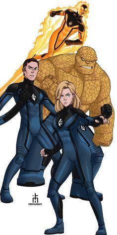 The Fantastic Four Commissioned by Jameson Commission 125 Marvel Comic Universe, Marvel Comics Art, Comics Universe, Marvel Heroes, Marvel Characters, Comic Books Art, Comic Art, Book Art, Young Avengers