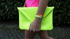 neon dress, neon bag, neon bracelets