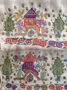 Antique Ottoman-Turkish Silk & Gold Metallic Hand Embroidery On Linen W Tomb 3