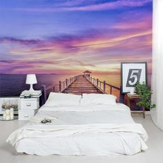 Create gorgeous accent walls with this Thailand Pier Sunset Wall Mural: