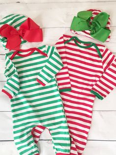 Red or Green Striped Christmas Romper by OnTheBeachBoutique