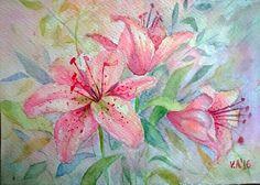 ORIGINAL watercolor flowers watercolor painting by VeselinaArt