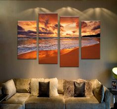 4PCS beach sundown the best selling Wall painting print on canvas for home decor ideas paints on wall pictures art F