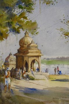 Light Brown watercolor Painting by Bhargavkumar Kulkarni on Paper, Cityscape based on theme Bhargavkumar. Watercolor Paintings Nature, Watercolor Architecture, Watercolor Landscape Paintings, Modern Art Paintings, Indian Paintings, Watercolor Pictures, Portrait Paintings, Abstract Portrait, Painting Abstract