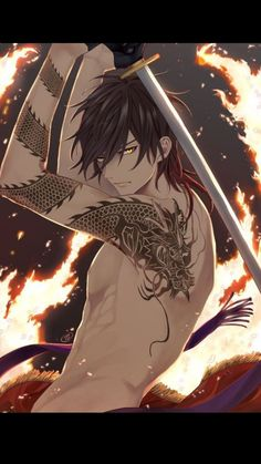 Ookurikara, Touken Ranbu, Character Design by Komiya, Art by ? Anime Sexy, Hot Anime Boy, Cool Anime Guys, Handsome Anime Guys, Anime Love, Dark Anime Guys, Samurai Anime, Anime Demon, Anime Cosplay