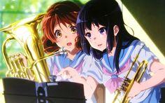 Herunterladen hintergrundbild 4k, kumiko ound, hazuki katou, hiba seinem euphonium, manga -, ton-euphonium