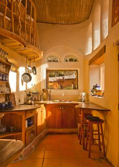 beautiful cob kitchen.