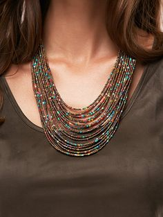 Trendy Bohemia Multilayer Beads Chain Necklace For Women - Customer Service - Ideas of Selling A Home Tips - Trendy Bohemia Multilayer Beads Chain Necklace For Women Beaded Statement Necklace, Seed Bead Necklace, Multi Strand Necklace, Diy Necklace, Necklace Designs, Necklace Tutorial, Simple Necklace, Seed Beads, Pearl Necklace
