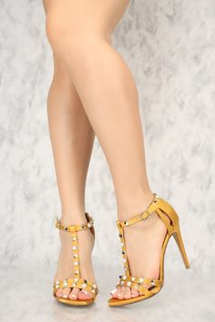 48181a61cb0 Sexy Mustard Open Toe Pyramid Studded Accent Single Sole High Heels