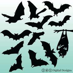 12 Bat Silhouette Digital Clipart Images by OMGDIGITALDESIGNS