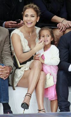 Jlo and daughter Emma at Chanel Runway Show in Paris