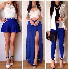 Instagram media by videosfashions - 1,2 ou 3? #looks#blue#white